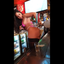 Woman Uses Her Azz To Make A Customer A Beer!