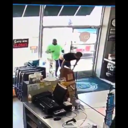 Dude Gets Punched In The Face At The Store By A Customer That Was Entering The Store After He Pulled Down His Pants And Flash His Azz And Penis At Employees!