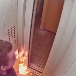 Dude Almost Gets Burned In Elevator After Putting Fire In His Drink!