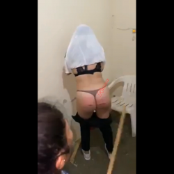 Woman Gets Her Cheeks Beat With A Stick!