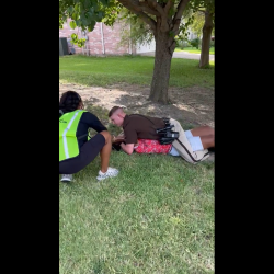 Girl Gets Pin Down By A Police Officer Because She Was Walking Down The Street In Traffic!