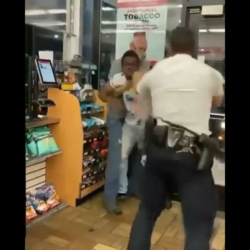 Security Guard And A Customer Tried To Arrest A Man Because He Walked In The Store Acting Funny!